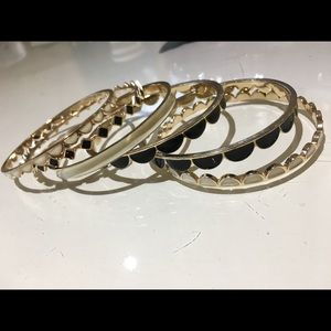 Stackable Enamel Black and White Bangles